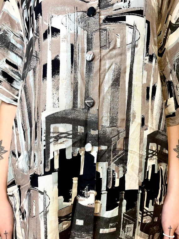 IMPACT Vintage Womens Shirt Abstract Blouses Retro