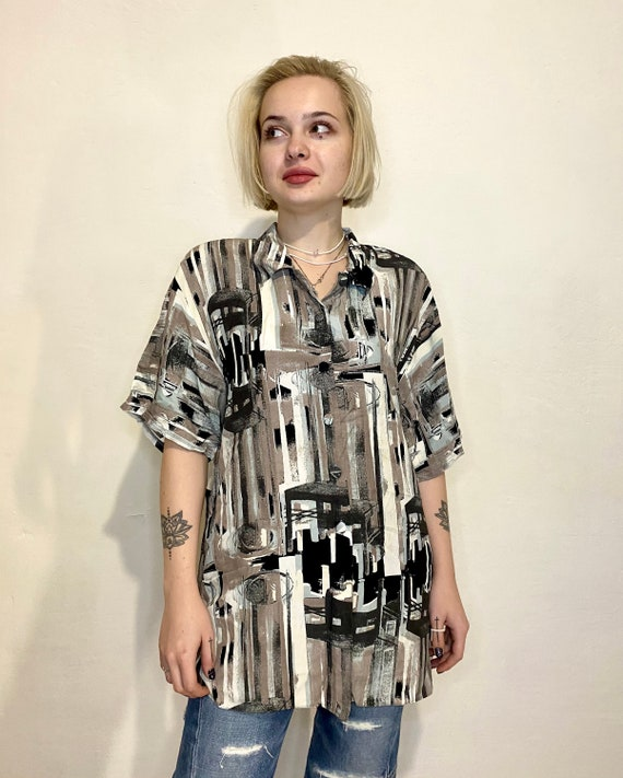 IMPACT Vintage Womens Shirt Abstract Blouses Retr… - image 2