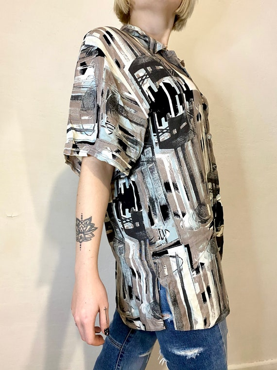 IMPACT Vintage Womens Shirt Abstract Blouses Retr… - image 4