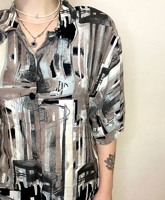 IMPACT Vintage Womens Shirt Abstract Blouses Retr… - image 3