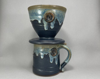Coffee Pour Over Set in Black 'n' Blue All Over Satin Matte Glaze