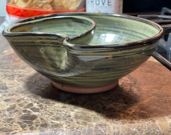 Individual Chip and Dip in Sage Green Glaze