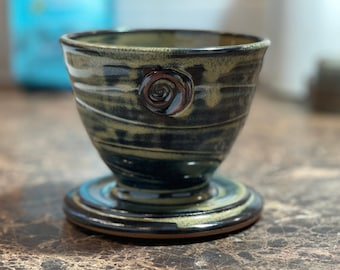 Coffee Pour Over, Pottery Coffee Dripper in Sage Gloss Glaze