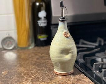 Pottery Olive Oil Cruet Pourer, EVOO Dispenser in Sea Foam Glaze