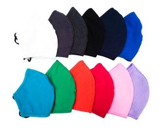 Adult Face Masks - Adjustable and Washable Masks with Filter Pocket - Reusable Cotton Mask with Adjustable Ear Straps - Solid Color Masks