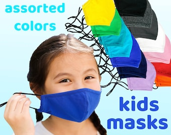 Children Face Mask | Solid Color Masks | Adjustable and Washable Mask with Filter Pocket - Reusable Cotton Mask with Adjustable Ear Straps