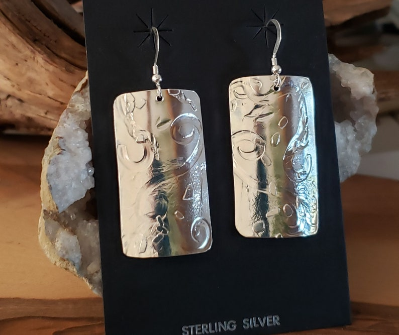 Christmas Gift Roller Printed Silver Curved Earrings Gift of Silver Textured Earrings