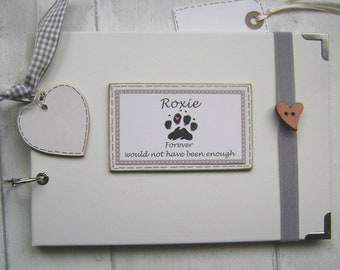 personalised pet dog/cat. a5 or a4 size photo album scrapbook memory, guest book, multi use gift. with elastic book strap