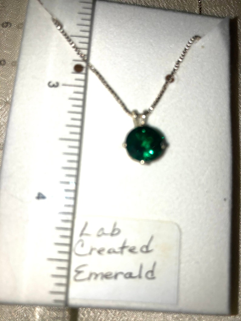 Lab-Created Round Emerald Hand-Set in Sterling Silver with Necklace