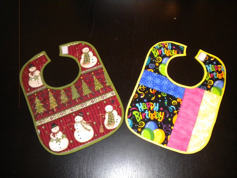 Christmas and Birthday Prints Quilted Baby Bibs