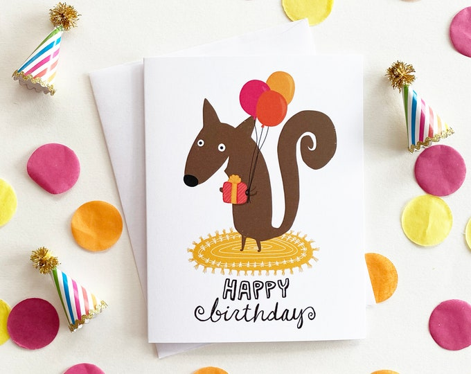 Featured listing image: Squirrel Birthday Card