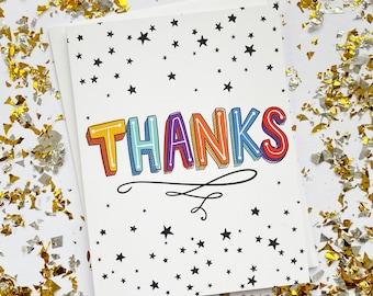 Thanks Card, Thank You Card, Thank You Card Pack, Graduation Thank You Cards, Thank You Notecards, Thank You Notes, Thank You Cards Set