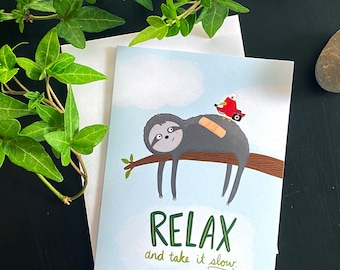 Sloth Relax Get Well Card