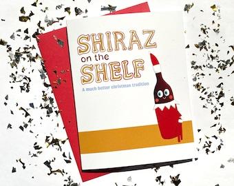 Shiraz on the Shelf Christmas Card