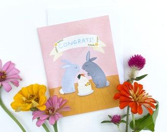 Cute Bunnies Wedding Card