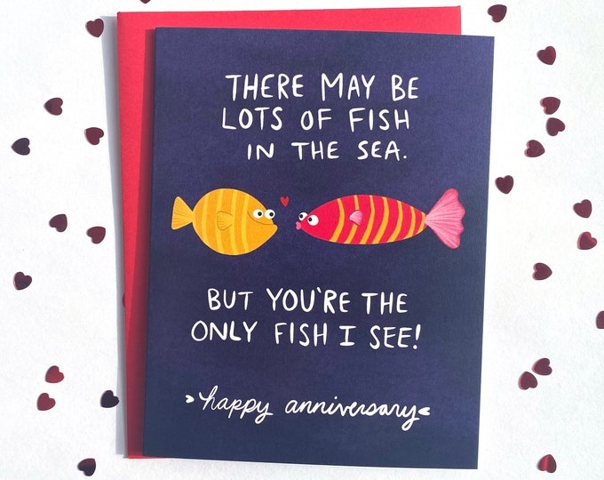 Featured listing image: Cute Fish Happy Anniversary Card