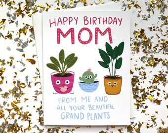 Birthday Card for Mom, Happy Birthday Mom, Mom Funny Birthday Card, Mom Birthday Card, Birthday Gift for Mom, Mom Birthday Gift, Plant Mom