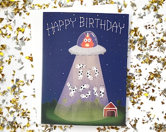 Alien Birthday Card, Sci Fi Birthday Card, Birthday Card for him funny, Alien Gifts, Geeky Gifts, Earthling, Alien Abduction, Space Birthday