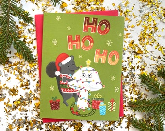 Cute Christmas Cards, Funny Holiday Cards, Mushroom Christmas, Cool Christmas Card, Christmas Card Pack, ho ho ho, Funny Christmas Cards