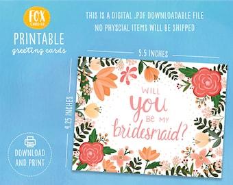 Bridesmaid Proposal Card, Bridesmaid Printable, Bridesmaid Card, Will You Be My Maid of Honor Card, Maid of Honor Proposal