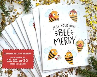 Bee Merry Christmas Cards Bundle Pack