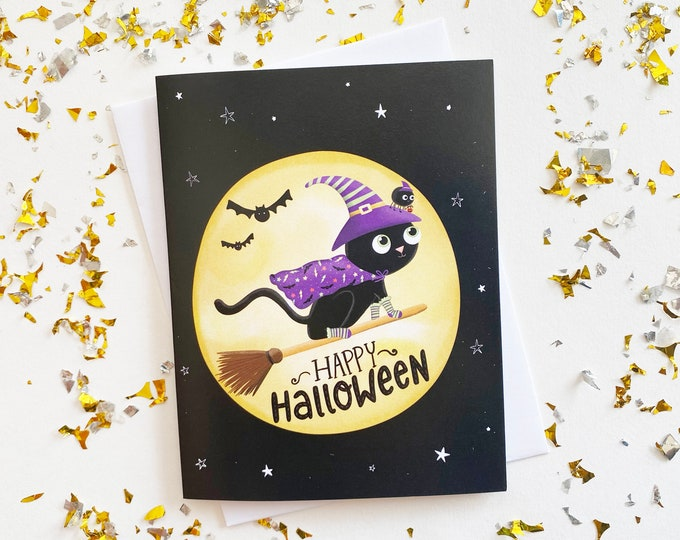 Featured listing image: Halloween Black Cat Card