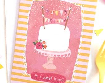 Best Friend Birthday Card , Cake Birthday Card, Happy Birthday Card for Girlfriend, Coworker Birthday Card, Birthday Card for Best Friend