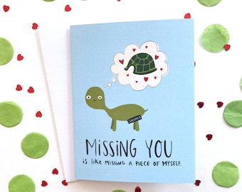 Funny Cards Just Because, Just Because Card, Funny Miss You Card, Funny Turtle Card, Long Distance Relationship Card, Long Distance Card