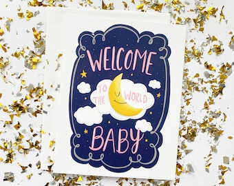 Welcome Baby Card Pink