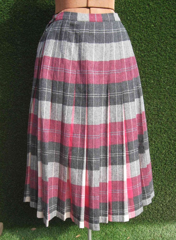 50's pleated REVERSIBLE wool pink and grey full sk