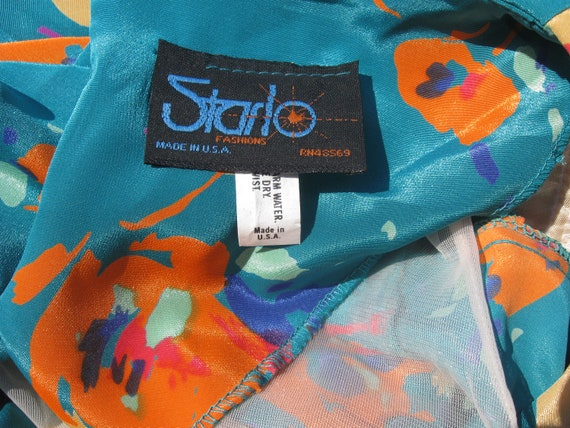 90's abstract floral sateen turquoise casual Secr… - image 8