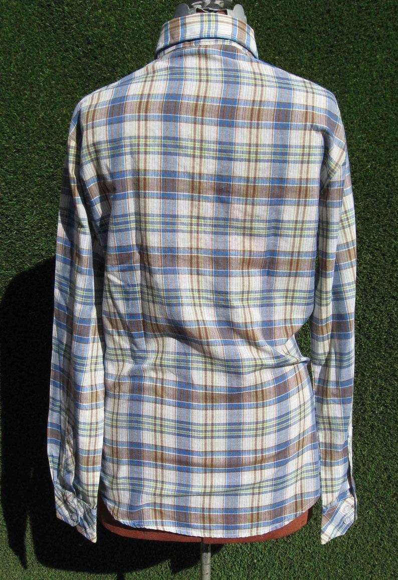 70/'s western plaid button down dagger collar Cowboy work shirt Medium