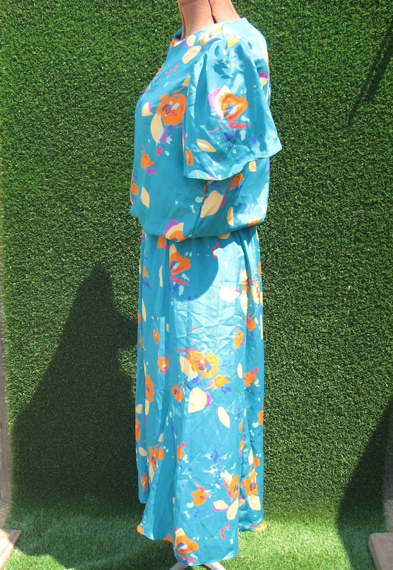90's abstract floral sateen turquoise casual Secr… - image 2