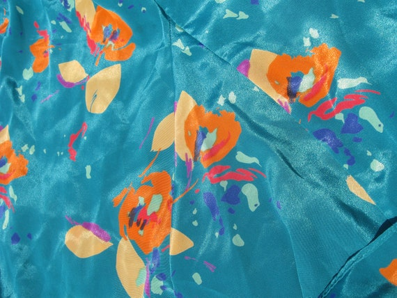90's abstract floral sateen turquoise casual Secr… - image 4