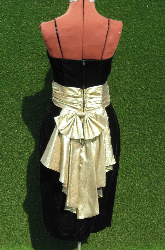 80's velvet strapless gold lame bow formal wiggle