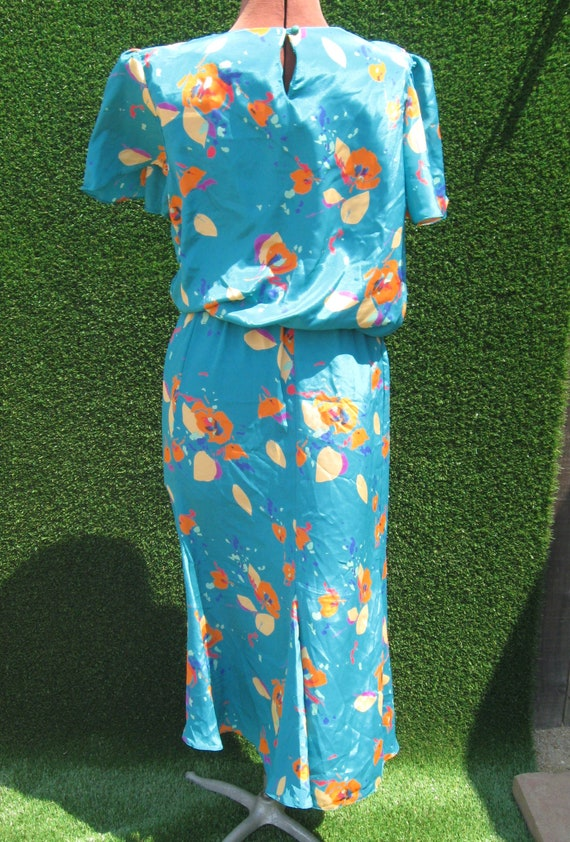 90's abstract floral sateen turquoise casual Secr… - image 3