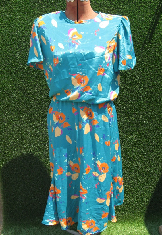 90's abstract floral sateen turquoise casual Secr… - image 1