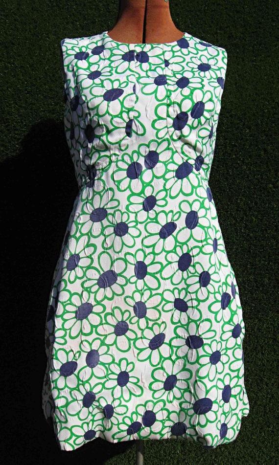 Flower Power Mod Dress XSSmall Mini Twiggy Dress,Summer Cotton Shift Dress Vintage Handmade Dress 60s Vintage Dress With Pockets