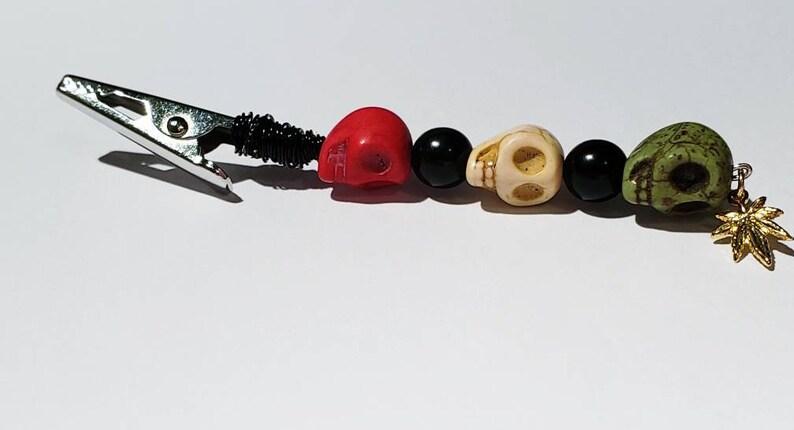 Bob Marley Inspired Joint Skull Alligator Roach Clips Potleaf Charm