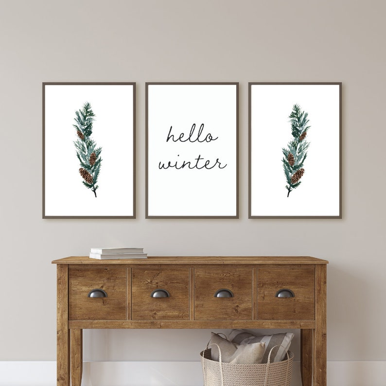 greenery decor set of 3 wall art prints for living room watercolor winter digital download farmhouse home d\u00e9cor print hello winter sign
