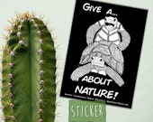 Tortoise Sticker, Give a F about Nature, Bumper Sticker, Funny Turtle sex, humorous sticker, Conservation Art, tortoise sexy time