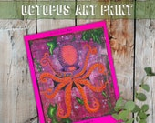 Octopus Art Print, Art for Conservation, Colorful Acrylic Octopus Painting, Pink Octopus, Sea of Cortez Sea Life Art, Eclectic Nature Decor