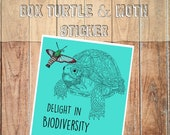 Box Turtle and Moth Sticker, Delight in Biodiversity, Vinyl weather-resistant, Cute turtle, Desert Love Conservation Charity, animal sticker