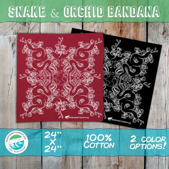 Snake and Orchid Bandana, Red and Black Options