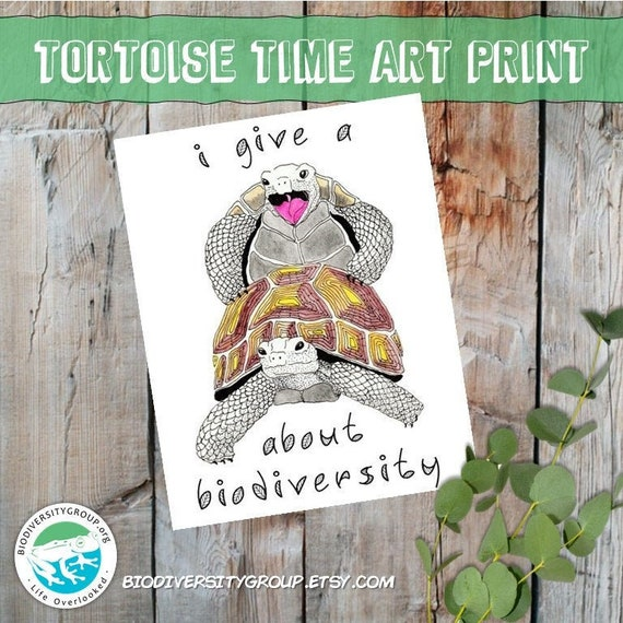 Funny Tortoise Art Print, Give a F about Biodiversity