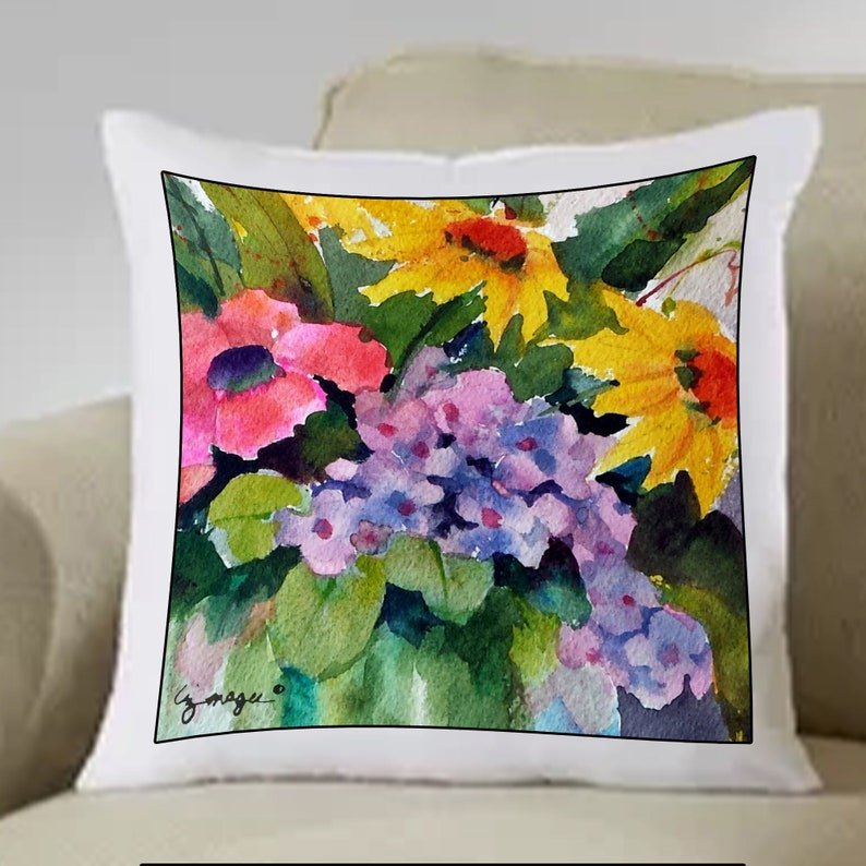 Print PILLOW SHAM  Hand Sewn  8 Different Original Watercolor Hand Painted Both Sides