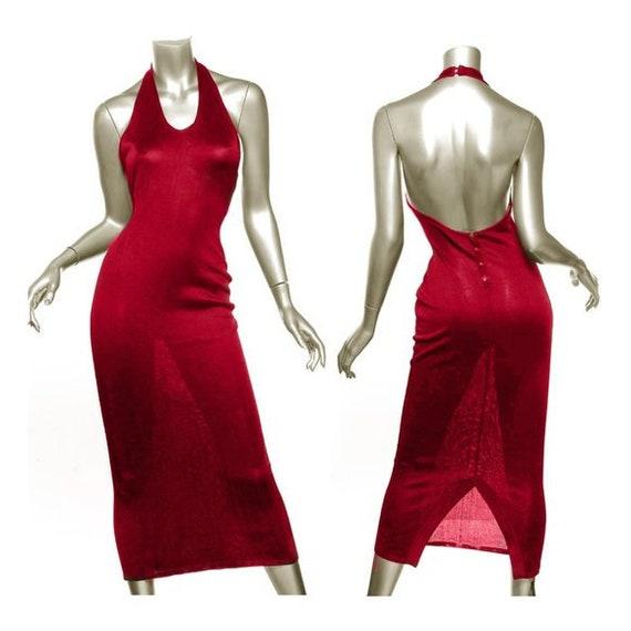 Azzedine ALAIA iconic 1980's red gown dress XS