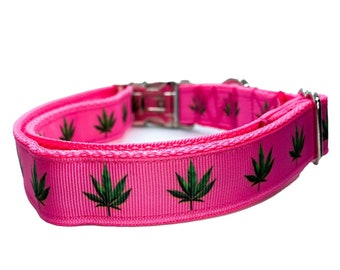 Ready To Ship Pot Leaf Dog Leash Pot Leaf Dog Collar and Leash Set Matching Set 1 Inch Wide Cannabis Dog Collar and Leash Set