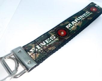 U.S Marine The Few The Proud Camouflage Key Chain Key Fob Wristlet Marine Keychain Marine Lanyard  GIFTS UNDER 10