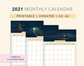 Undated Monthly Calendar. Planner | 2021 | Printable. Instant download | A3. A4